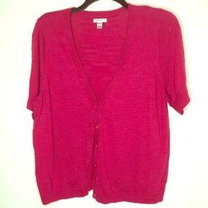 Croft & Barrow pink short sleeved cardigan.